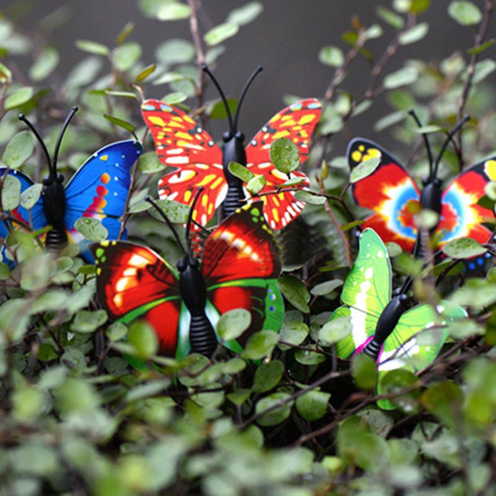SpirWoRchlan 4 Pcs 3D Butterfly Miniature Fairy Garden Ornament Plant Pot DIY Craft Decor