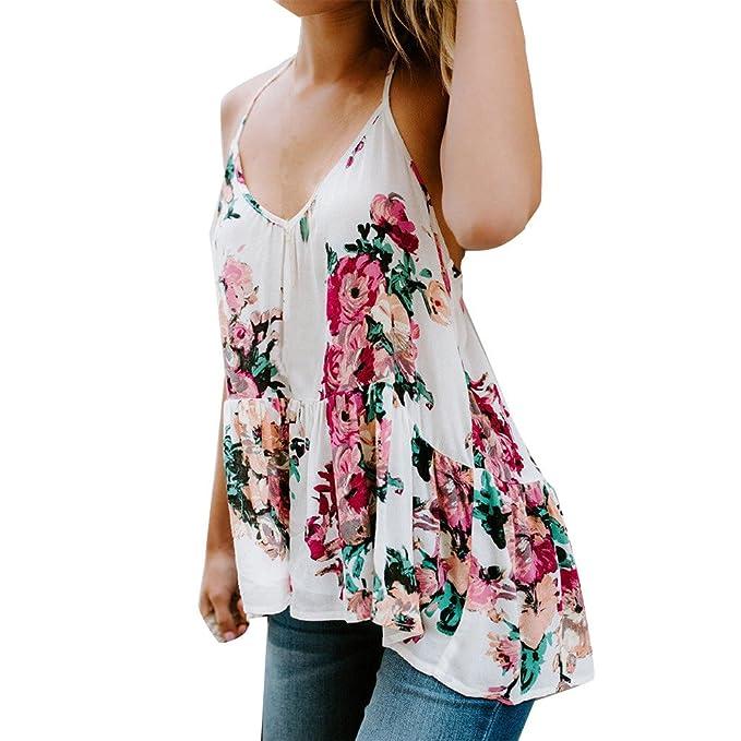 LANSKIRT Camisas Mujer Fiesta Tops de Verano con Cuello en v Sudaderas de impresión Camisetas de