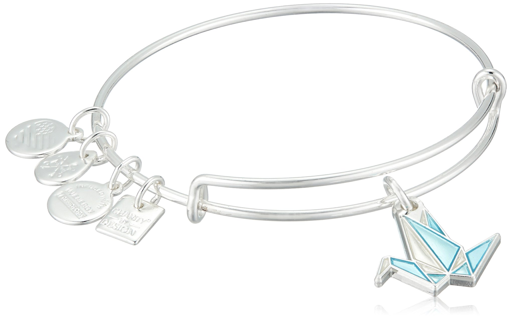 Alex and Ani Charity By Design, Paper Crane EWB Shiny Silver Bangle Bracelet