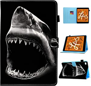 iPad Mini 5 Case,iPad Mini 4/3/2/1 Case,Shark Mouth Black and White Pattern Wallet PU Leather Stand Folio Slim Smart with Auto Sleep/Wake Case Cover for Apple iPad Mini 5(2019),iPad Mini 4/3/2/1