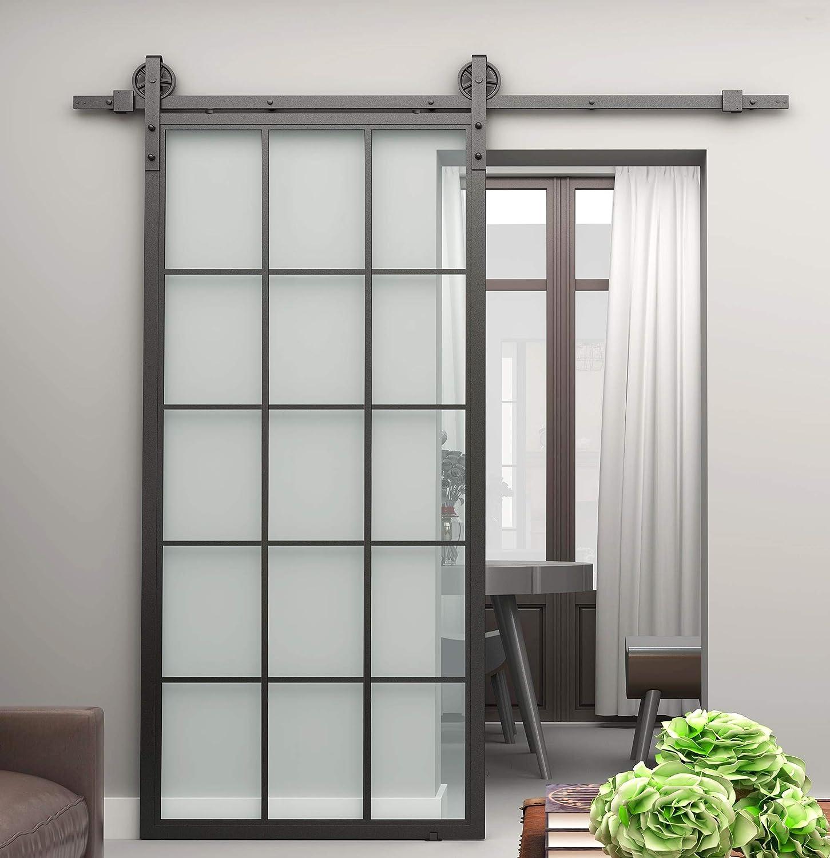 DIYHD 36x84 Black Aluminum Frame Glass Sliding Barn Door Slab Interior Clear Tempered Glass Partition Door Panel Disassembled,No Sliding Hardware
