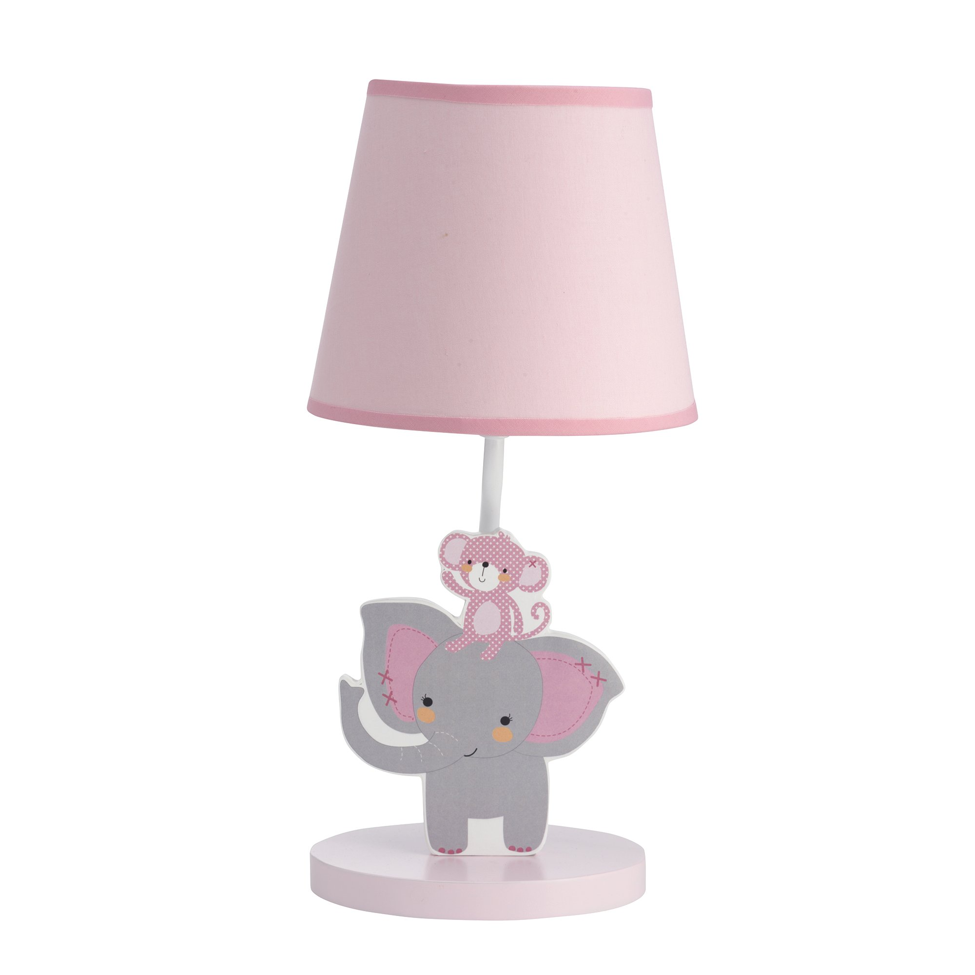 Bedtime Originals Twinkle Toes Monkey Elephant Lamp with Shade & Bulb, Pink/Gray by Bedtime Originals