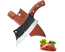 Hand Forged Meat Cleaver 6.3 Inch Kitchen Chef Knife with Leather Sheath and Gift Box Outdoor Butcher Knife Hammered Chopper
