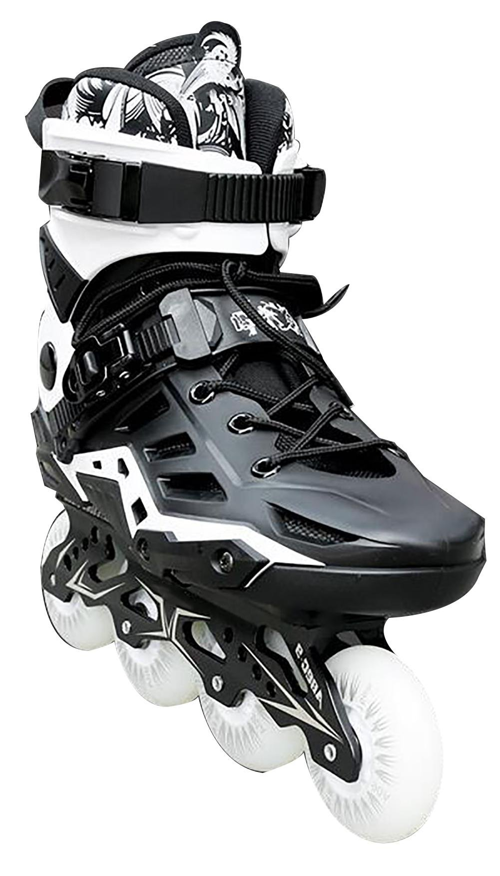 Inline Skates For Men Unisex Racing PP Material 3D Aluminum Alloy Bracket PVC High Elasticity PU Wheels Black , 41