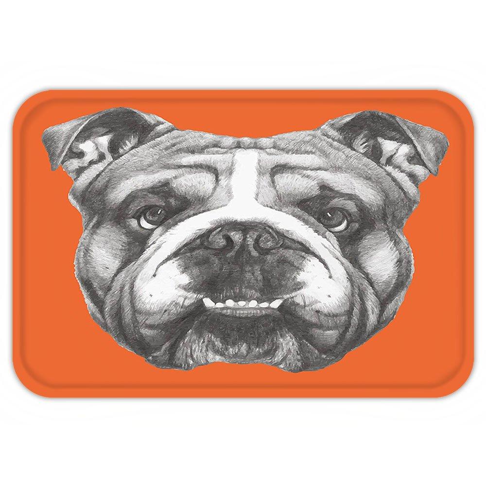 VROSELV Custom Door MatDog Hand Drawn Portrait of English Bulldog Cute Puppy Retro Animal Funny Cool Pet Black White Orange