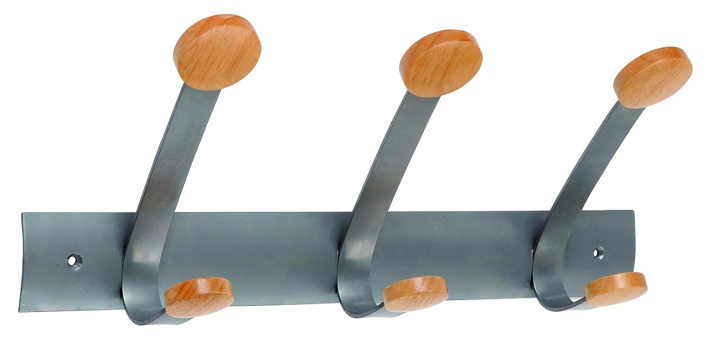 Appendiabiti da porta 2posti 30cm metallo/legno alba PMV2P