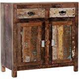 CLP Sideboard RINARA aus recyceltem Teakholz I Kommode mit 2 Schubladen und 2 Türen I Mehrfarbiges Highboard im Vintage-Look Bunt
