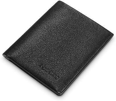Front Pocket Wallets for Men RFID Blocking Slim Bifold Leather Minimalist Card Case-Black