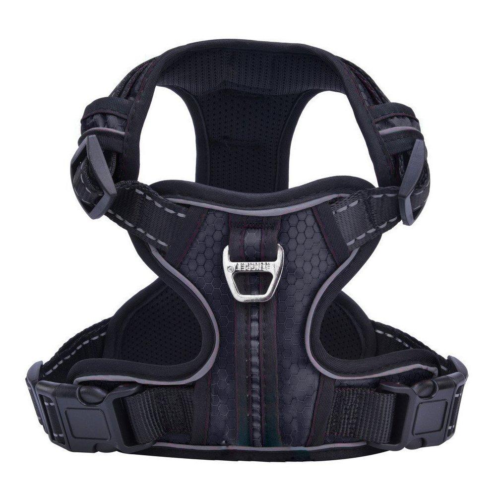 PUPTECK Best No-Pull Dog Harness with Vertical Handle,Calming Adjustable Reflective Outdoor Adventure Pet Vest,Black S