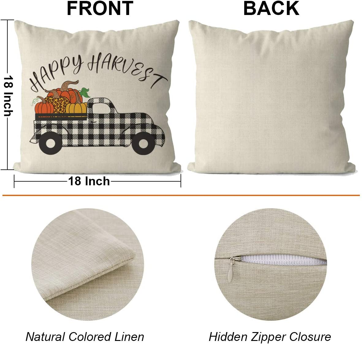 Fall Decor for Home Dazonge Thanksgiving Decorations for Home Set of 4 Pumpkin Farmhouse Throw Pillowcase Buffalo Checked Plaids Fall Pillow Covers 18 x 18 Inches