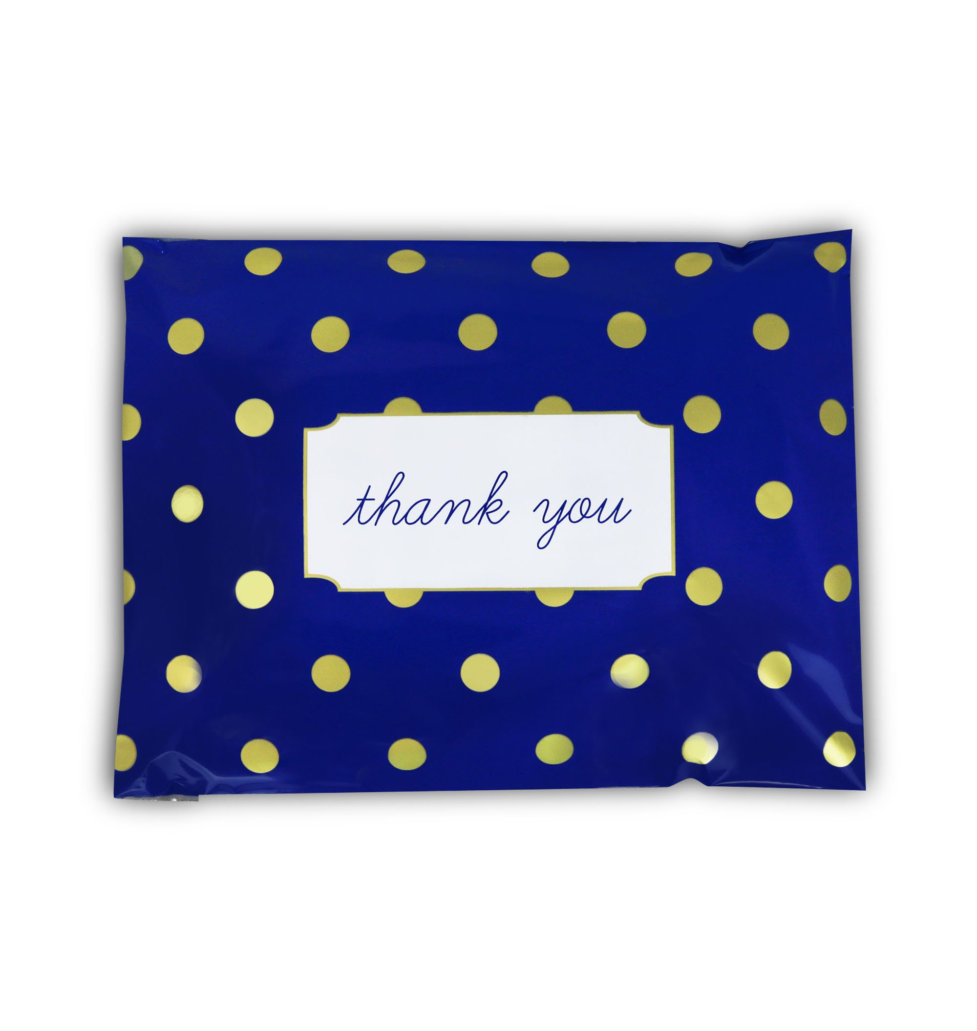 "[ 100-10"" X 13"" ] Navy Polka Dot - Thank You Design Custom Poly Mailer Envelope Shipping Bags, Tear Proof & Powerful Self Seal Adhesive Postal Bags (Other Designs Available) - Pack It Chic by Pack It Chic (Image #2)"