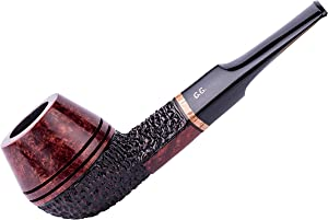 Wooden Tobacco Smoking Pipe, Hand Carved of Briar Root, Metal Cooling Filter, Comes with Pouch, Boxed (Bulldog, Rust)