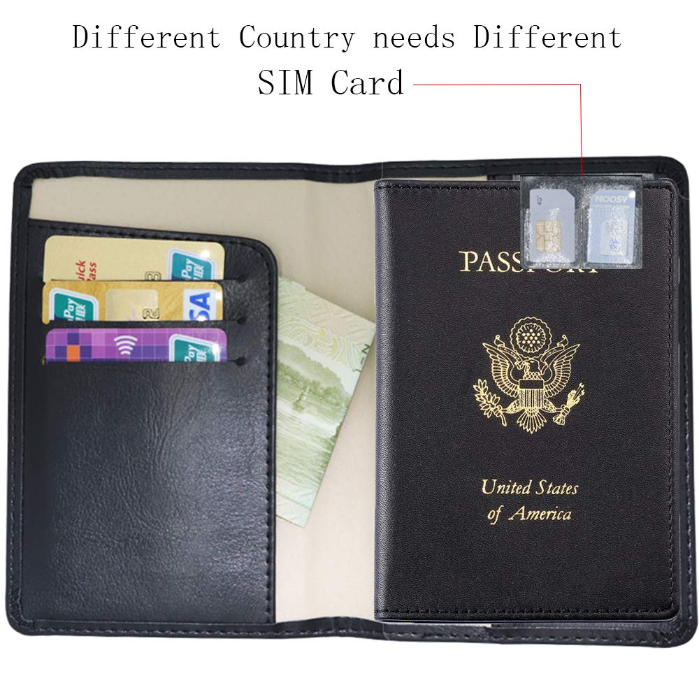 c1edce979300 Watruer Passport Cover Holder Wallet RFID Blocking Leather Card Case Travel  Document Organizer for men women - Coffee