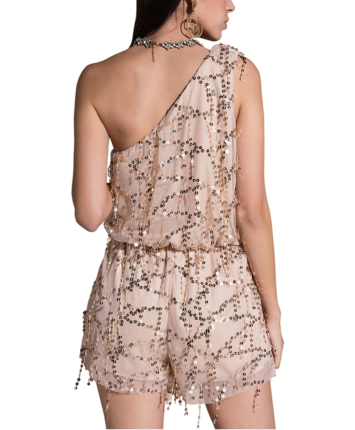 7d536b1d733 Amazon.com  CHIC DIARY Women Sexy Sequin Romper Plunge Neck Long Sleeve  Tassel Playsuit  Clothing