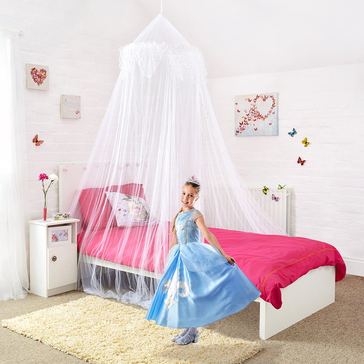 Home and More Store Princess Bed Canopy - Beautiful Silver Sequined Childrens Bed Canopy in White - Single Bed Mosquito Nets 4 U ®