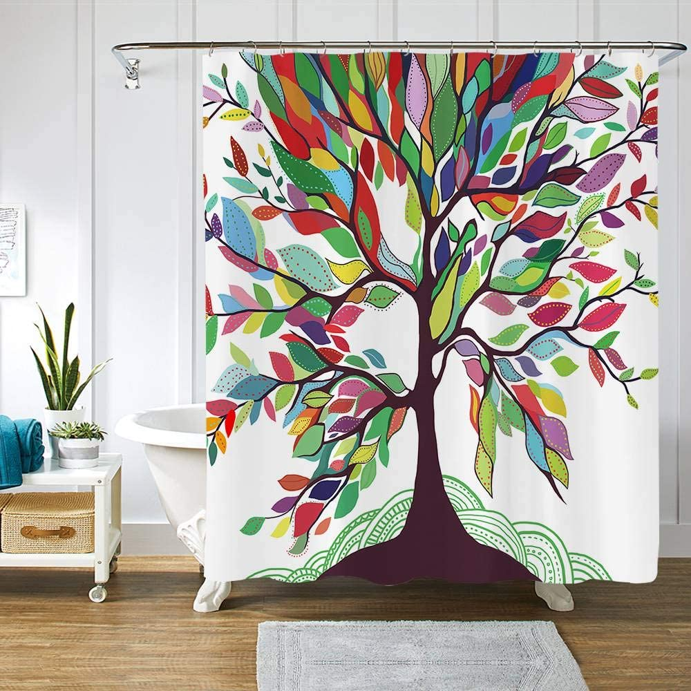 "AOKDEER Tree of Life Shower Curtain ,Waterproof Colorful Tree Bathroom Curtains,Watercolor Rainbow Fantastic Art Natural Fabric Shower Curtains Hooks for Bathroom Decor Gifts, 72 ""×72 """