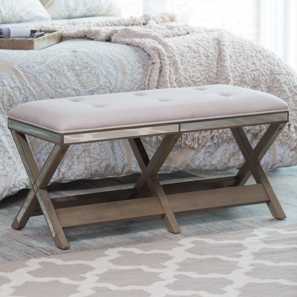 Amazon.com: Belham Living Cushioned Indoor Bench with Mirrored ...