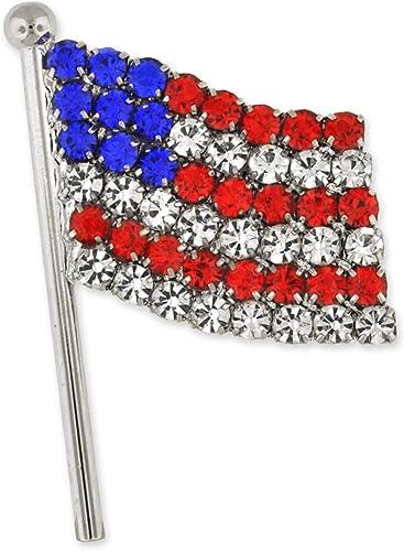Rhinestone American Flag Brooch