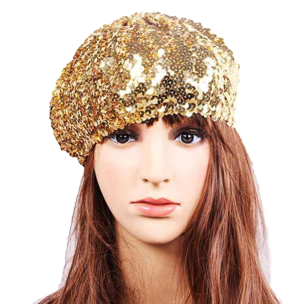 Idopy Women`s Sequin Beret Hat Sparkly Shining Party Beanie Cap