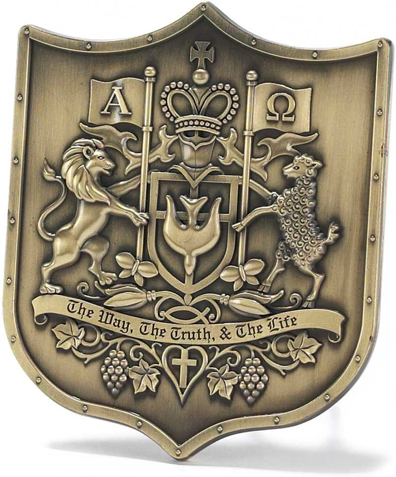 Dicksons Christian Coat of Arms Embossed 4 x 4 Resin Stone Easel Back Table Top Sign Plaque