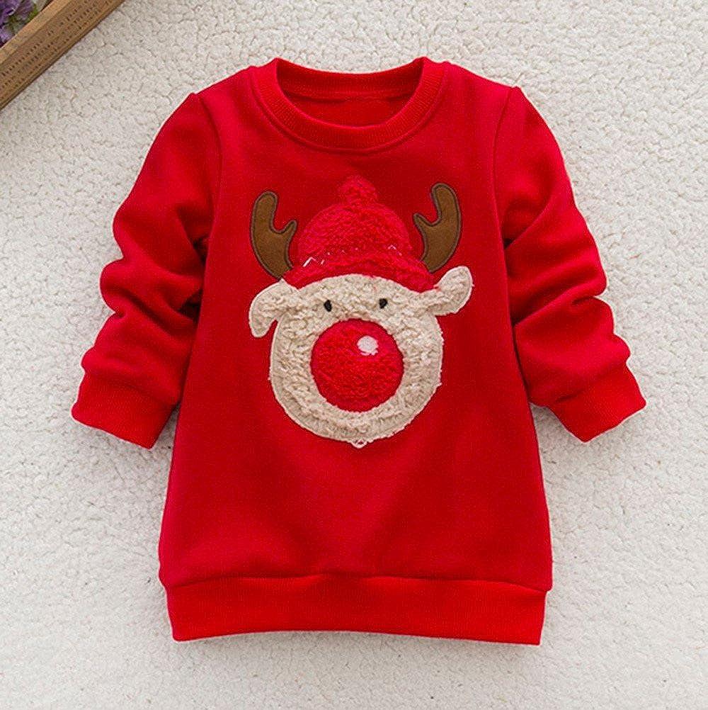 Suéter Top de Punto Bebé niño niña Manga Larga Ciervos de Navidad Tops Sudadera: Amazon.es: Ropa y accesorios