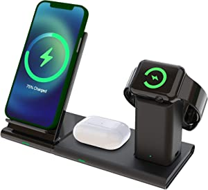 Wireless Charger Station, Mibao 3 in 1 Wireless Charging Station for Apple Watch, AirPods Pro/2, Detachable Wireless Charging Stand for iPhone QI Model(NO QC 3.0 Adapter and iWatch Charger)