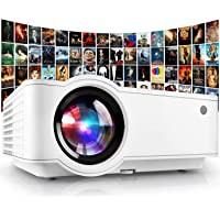 """Projector, [2021 Updated] Mini Projector 1080P Supported, 5500 Lux 210"""" Display with 52,000 Hrs LED Movie Projector…"""