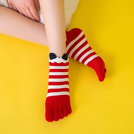 Amazon.com: Invisible Cotton Sock Women Fashion Five Toe Finger Socks Stripe Black Red Navy Cute Socks calcetines Female Winter Autumn Meias: Clothing