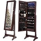 Amazon Com Espresso Dark Brown Mirrored Jewelry Cabinet
