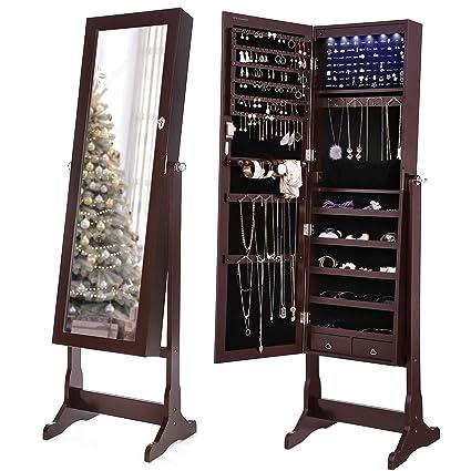 Amazon Com Songmics 6 Leds Jewelry Cabinet Lockable Standing