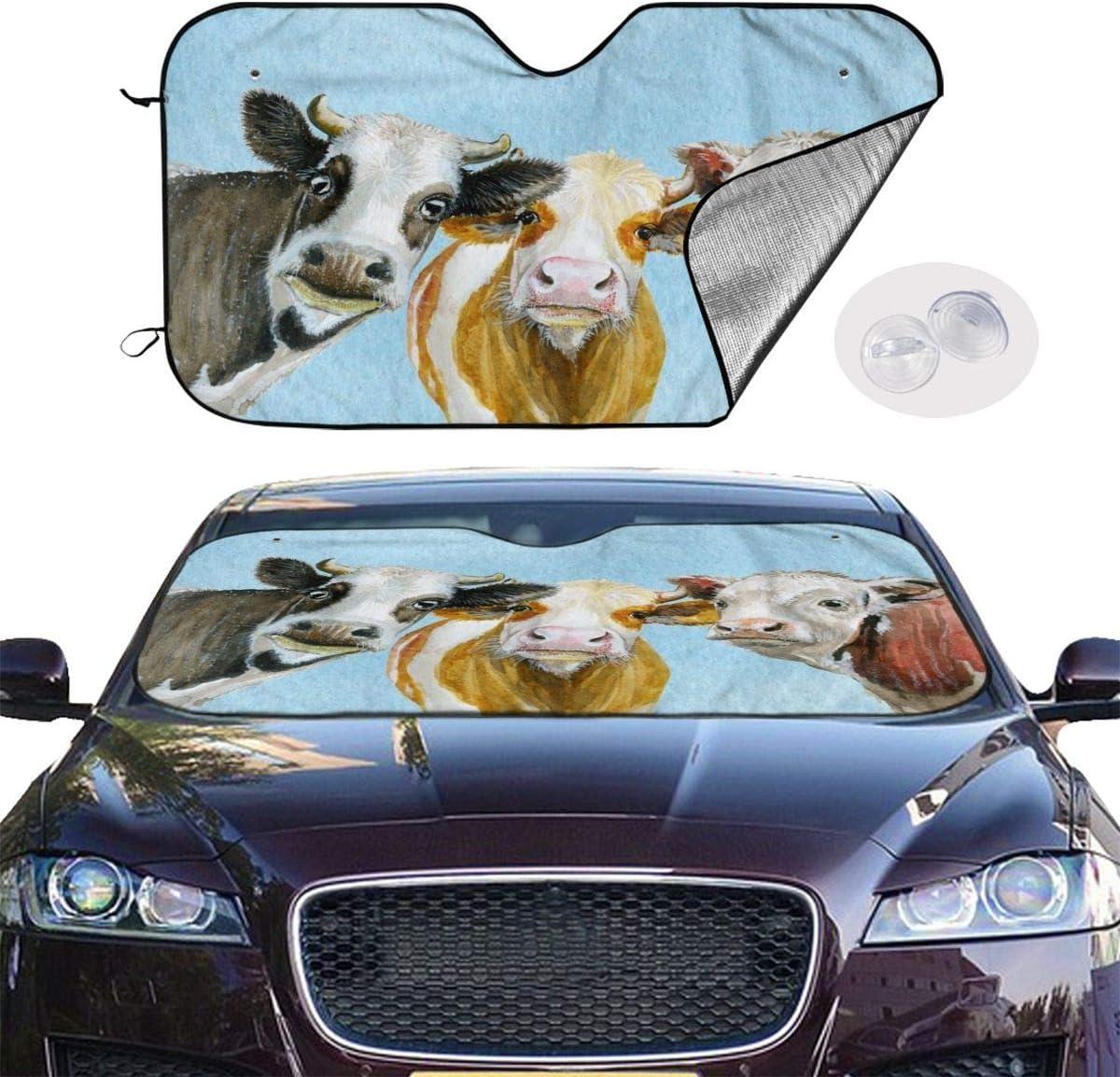 Block Sun Glare Keep Your Car Cool 55 x 30 Universal Size Foldable Car Front Window Sunshade Delerain Funny Cow Custom Car Windshield Sun Shade UV and Heat