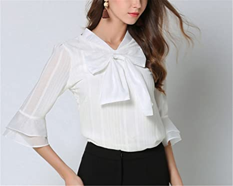 06c64ad7099f0 Daniig Ladies Plus Size Blouses Tops New Summer Chiffon Falbala Splicing  Bowknot Stripe Primer Shirt Women