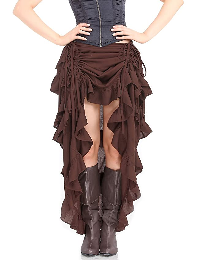 Steampunk Skirts | Bustle Skirts, Lace Skirts, Ruffle Skirts Steampunk Victorian Gothic Womens Costume Show Girl Skirt $38.95 AT vintagedancer.com