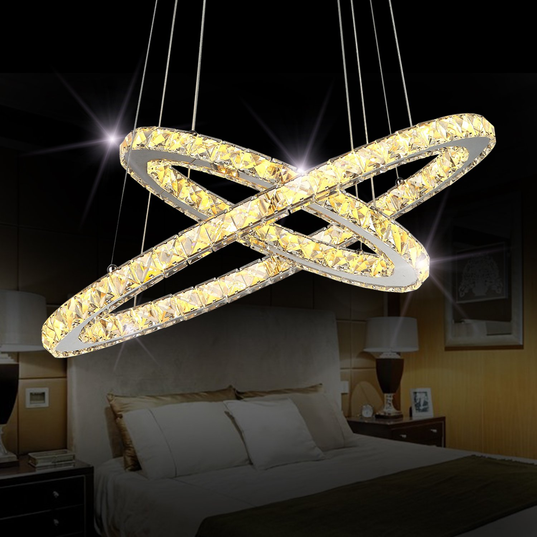 Sefinn Four Crystal Chandeliers Modern LED Ceiling Light Fixtures Flush Mount Pendant Lights Adjustable for Dining Room Living Room Kitchen Hallway (Oval 2 Rings(11.8'' + 19.7'') Warm White)