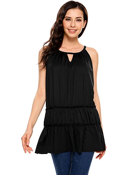 2db8fe39b5f Nessere Women Halter Sleeveless Keyhole Solid Casual Loose Fit Tiered Top  Blouses Black