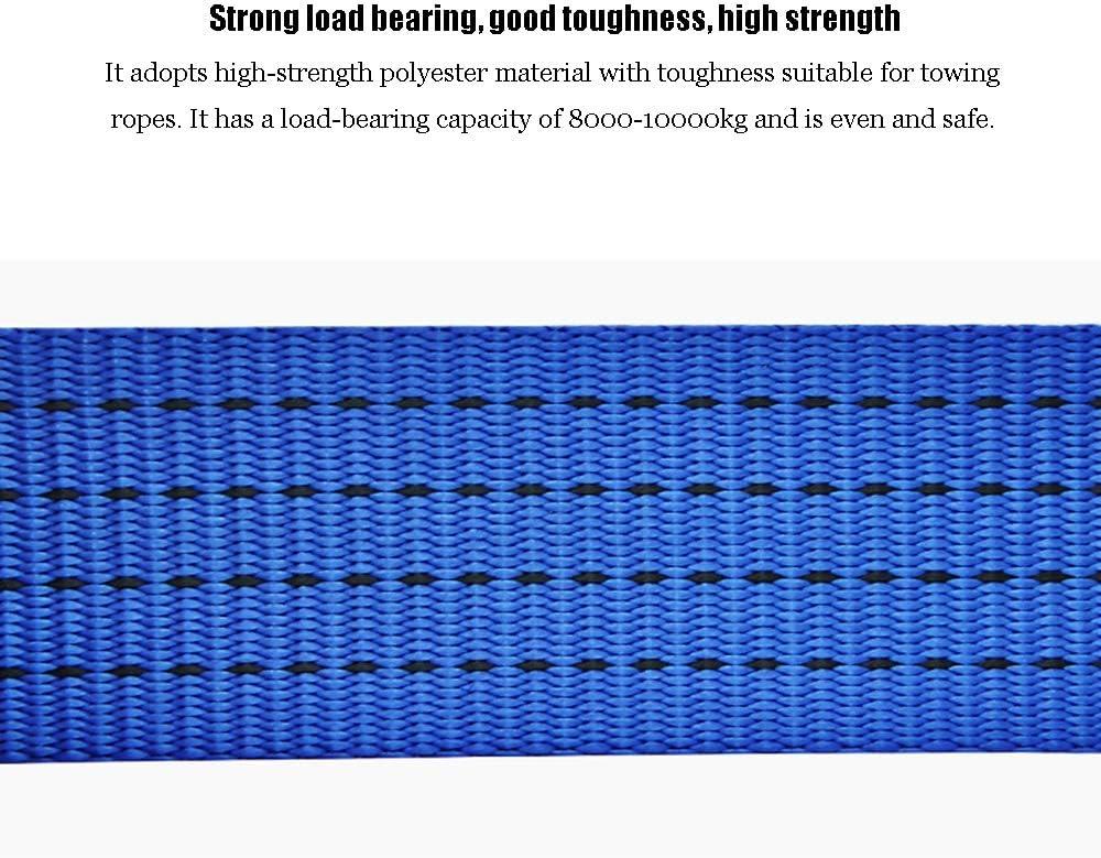 Qinsir Eslinga Cuerda Remolque,Coche Remolque Correa,5M//16FT,10000kg//22046lb,Remolque con Gancho en U con Engrosamiento y Ensanchamiento Todo Terreno Herramienta de Rescate Emergencia Azul