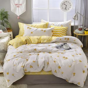 Yellow Flower Bedding Luxury Floral Duvet Cover Set Lucky Clover and Yellow Plaid Reversible Design Flowers Comforter Cover Queen 1 Duvet Cover 2 Pillowcases (Queen, Yellow)