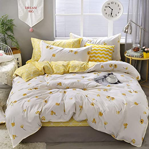 Amazon Com Yellow Flowers Bedding Luxury Floral Duvet Cover Set Lucky Clovers And Yellow Plaid Reversible Design Flowers Bedding Sets King 1 Duvet Cover 2 Pillowcases King Yellow Home Kitchen