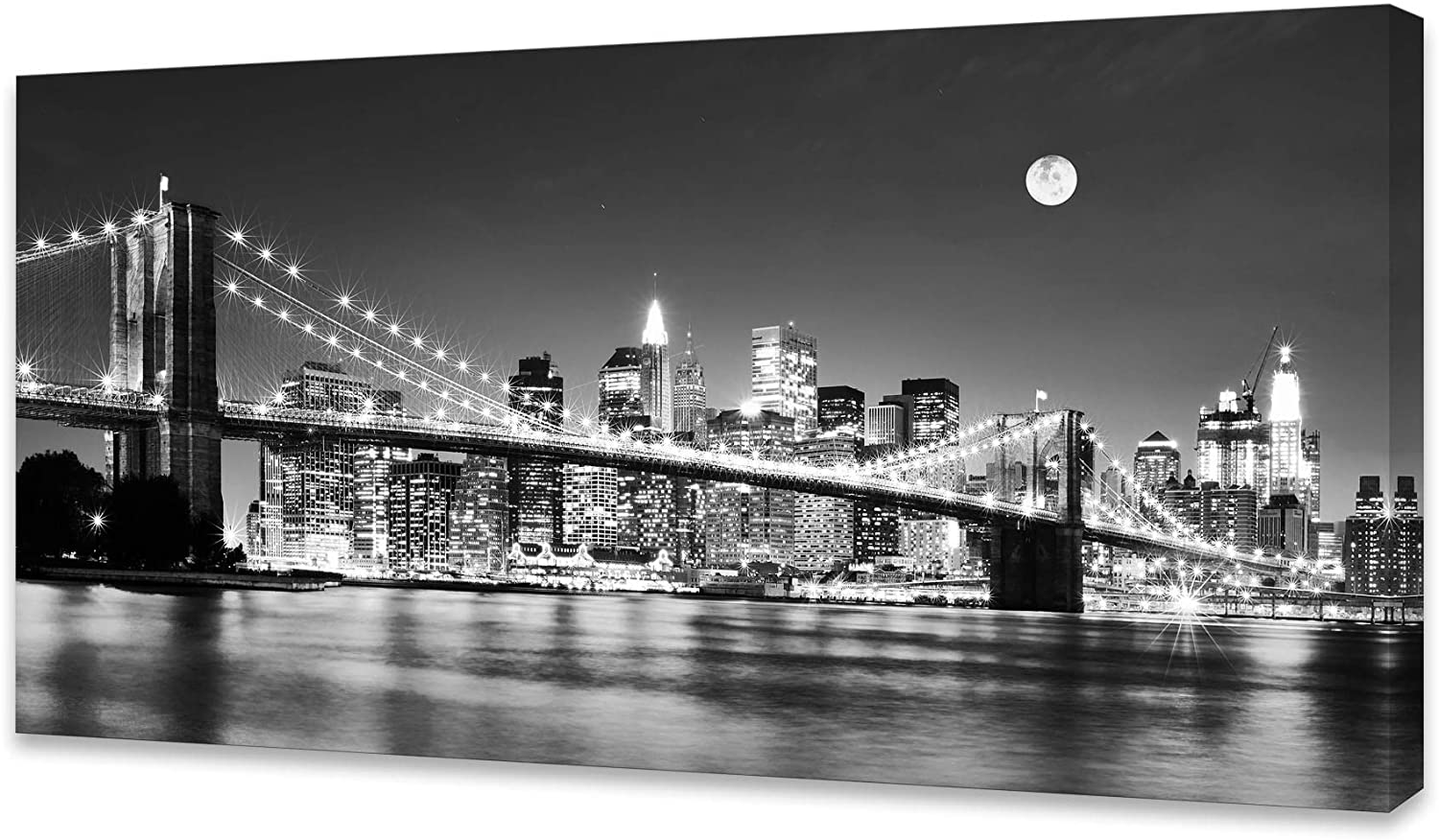 Baisuart-Q30350 Brooklyn Bridge Night View 1 Panels Landscape Artwork Canvas Prints Moon Night New York City Scene Picture Paintings Black and White Wall Art for Oiffce Home Decorations Wall Decor