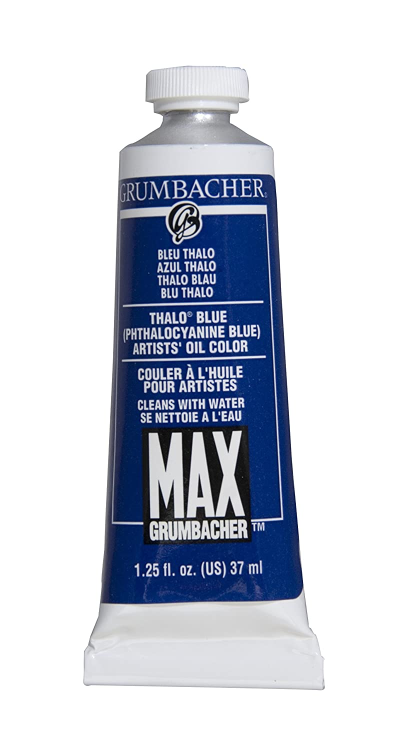 Grumbacher Max Water Miscible Oil Paint, 37ml/1.25 oz, Thalo Blue M203