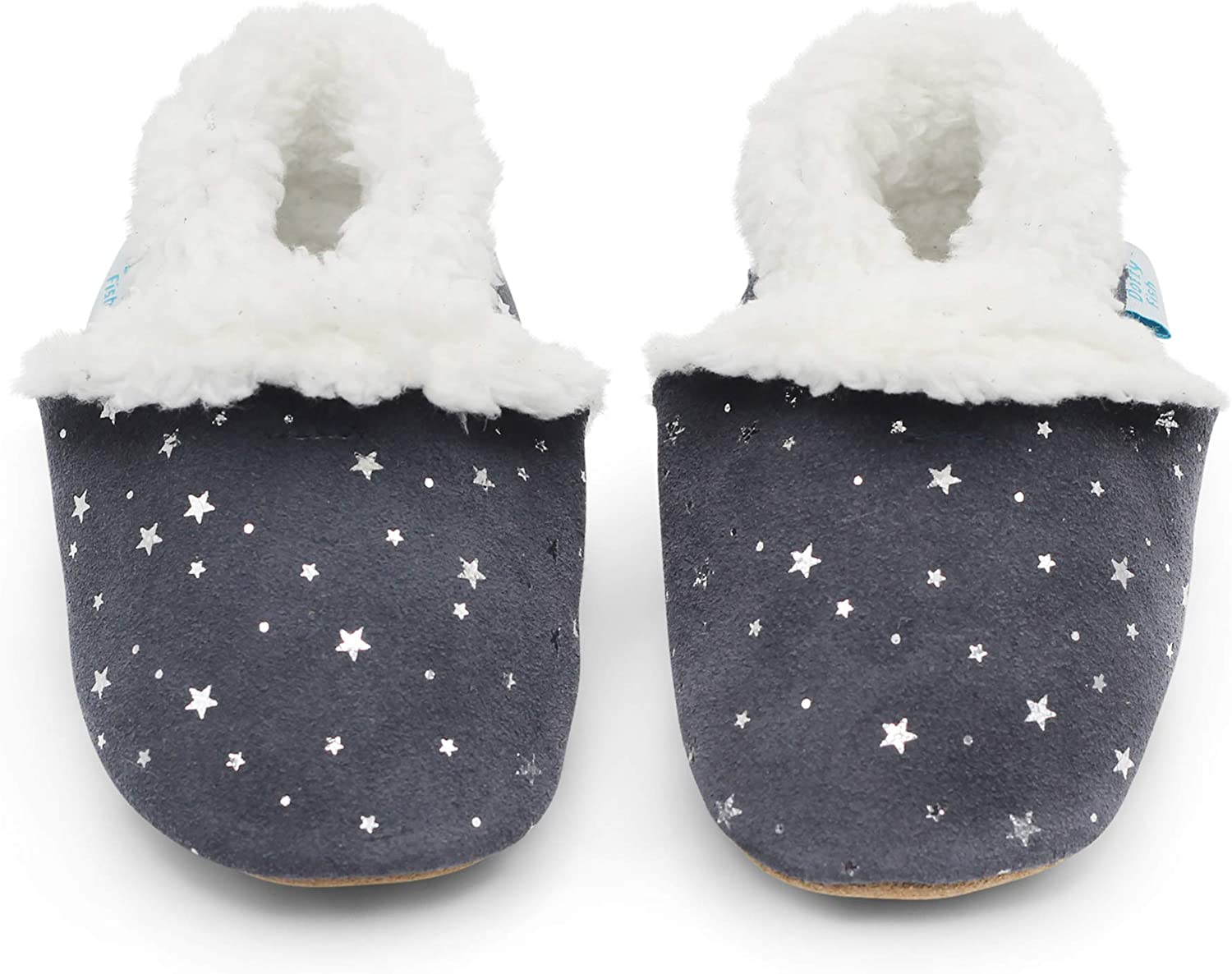 Infant Toddler Shoes Girls. Young Kids Warm Fleece Lined 0-6 Months to 5-6 Years Boys Dotty Fish Suede Baby Slippers Non-Slip Soft Sole