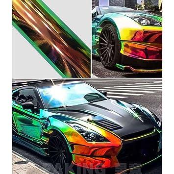 Holographic rainbow neo chrome car vinyl wrap bubble free sticker film 138cm50cm black