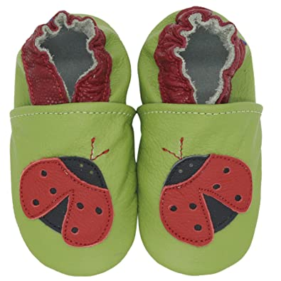 carozoo new soft sole leather kid shoes cherry white 5-6y