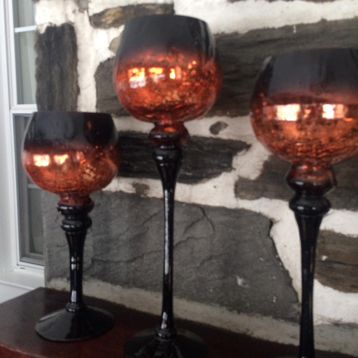 Set of 3 Brown Mercury Chocolate Crackle Finished Glass Hurricane Candle Holders ~ Decorative Sphere Ball Candle Holders ~ Home Decor & Party Centerpiece by Le'raze (Image #4)