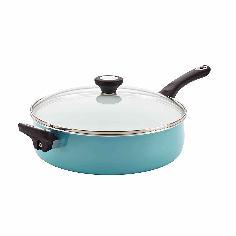 Farberware Purecook Ceramic Nonstick Cookware Covered Jumbo Cooker with Helper Handle, 5 Quart, Aqua 17497