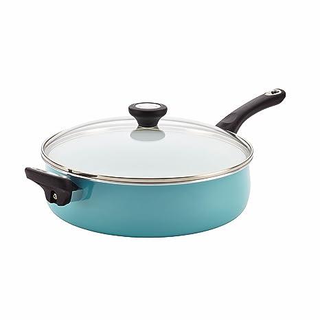 Farberware Purecook Ceramic Nonstick Cookware Covered Jumbo Cooker With Helper Handle 5 Quart Aqua