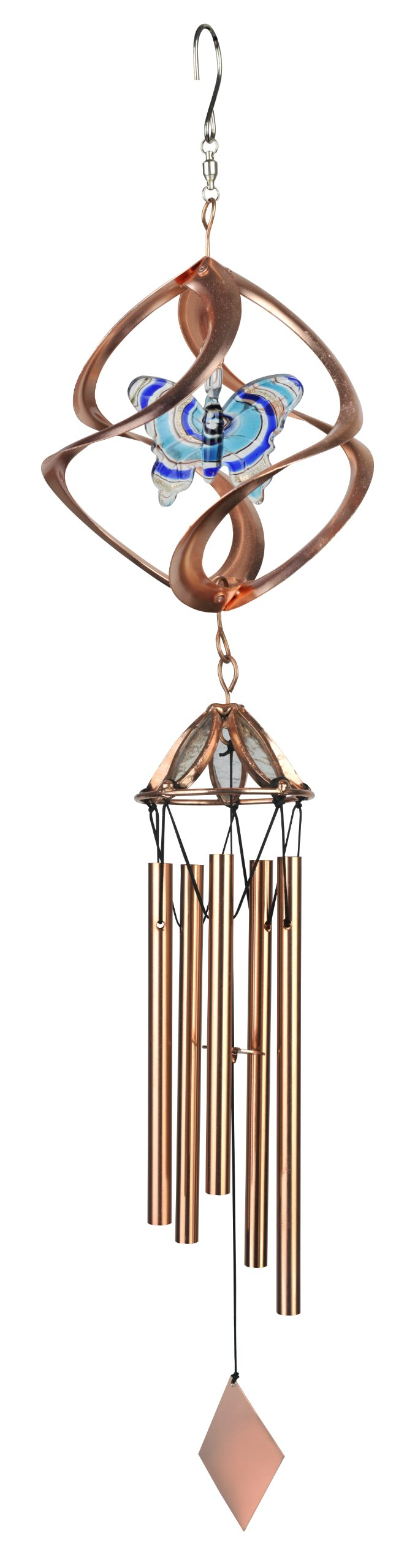 Red Carpet Studios Cosmix Copper Wind Spinner and Chime, Butterfly