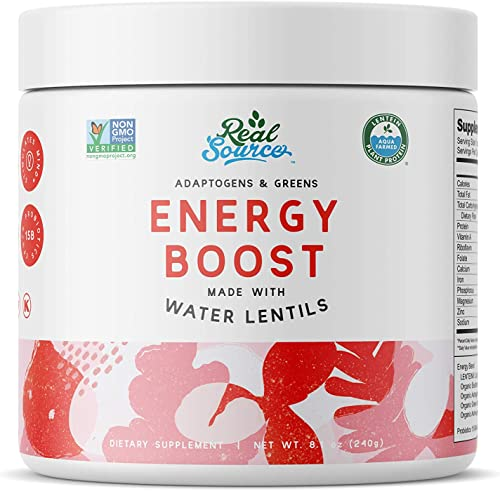 Real Source Adaptogens Greens Energy Boost Powder with Superfood Water Lentils, Spirulina, Maca, Eleuthero, Yerba Mate, Ashwagandha, Ginseng, Green Tea, Probiotics, 30 Servings, 240g