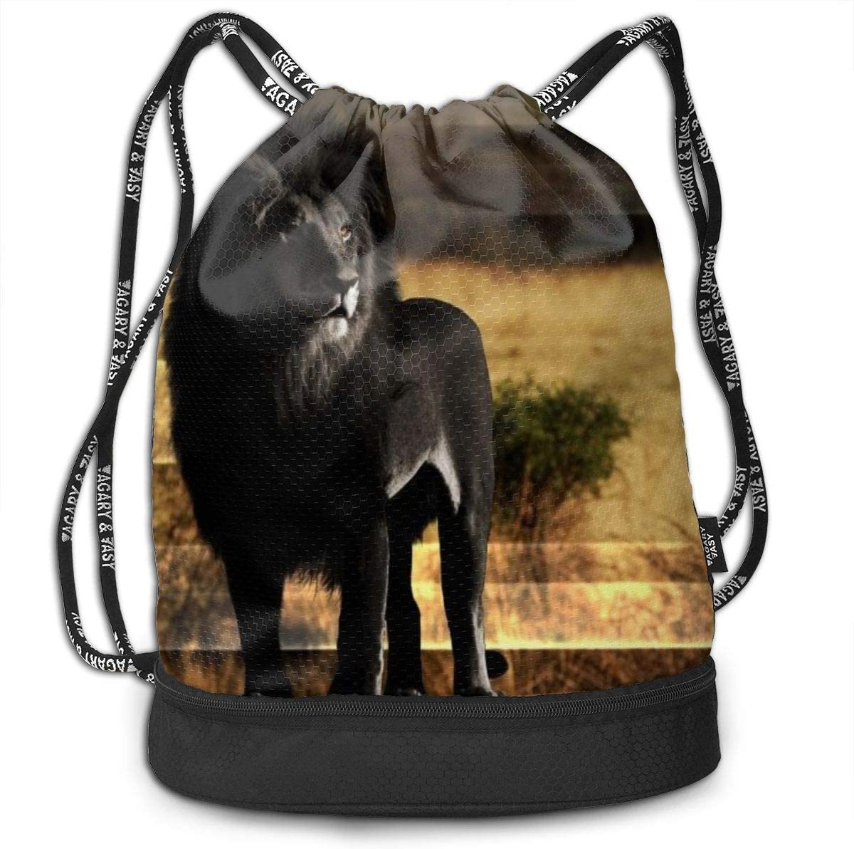 African White Lion Drawstring Small Bag Waterproof For Women Men Girl Cut Backpack Zipper Cinch Sack