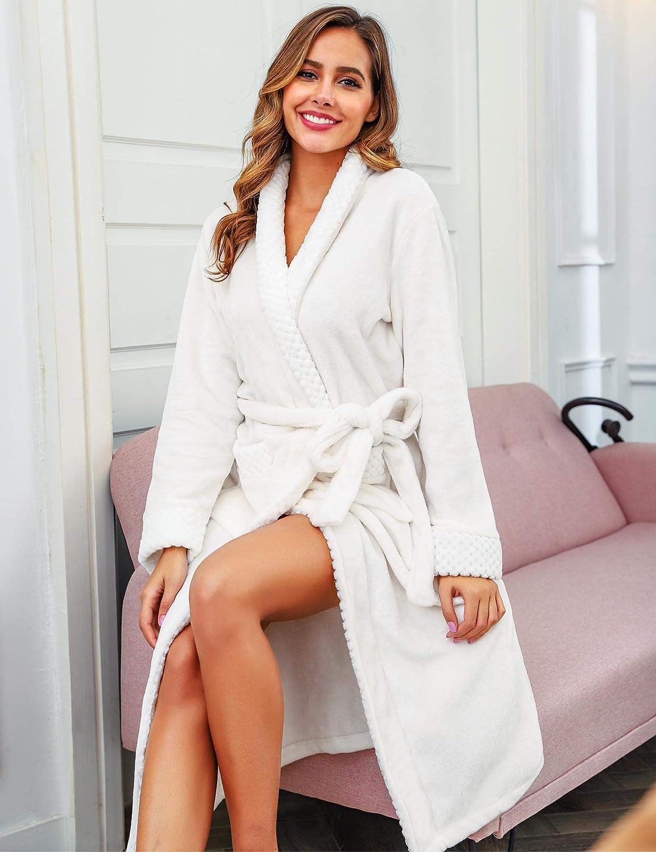 Robe de Chambre Long et /Épais Peignoir de Bain V/êtements de Nuit pour Hiver Abollria Peignoir Femme